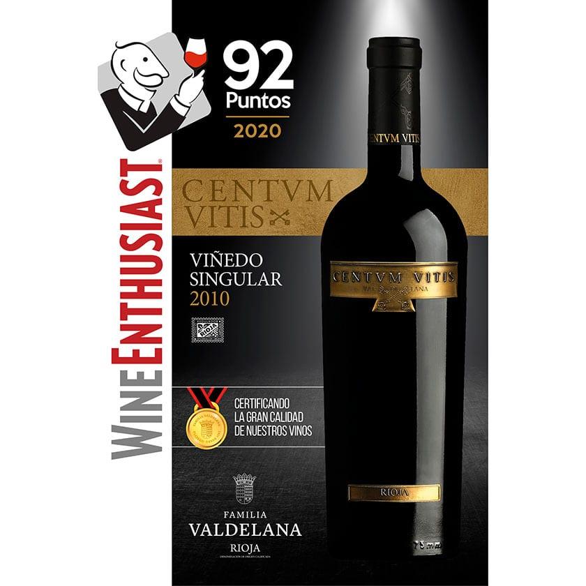 Centvm Vitis, vino de Bodegas Valdelana, obtuvo  92 puntos en Wine Enthusiast 2020