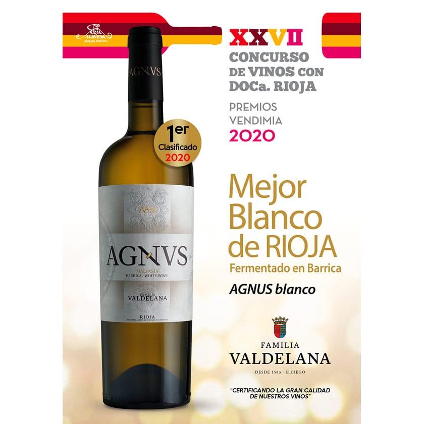 Agnvs Blanco premiado como el mejor blanco fermentado en barrica de Rioja en la Fiesta de la Vendimia de Rioja Alavesa 2020