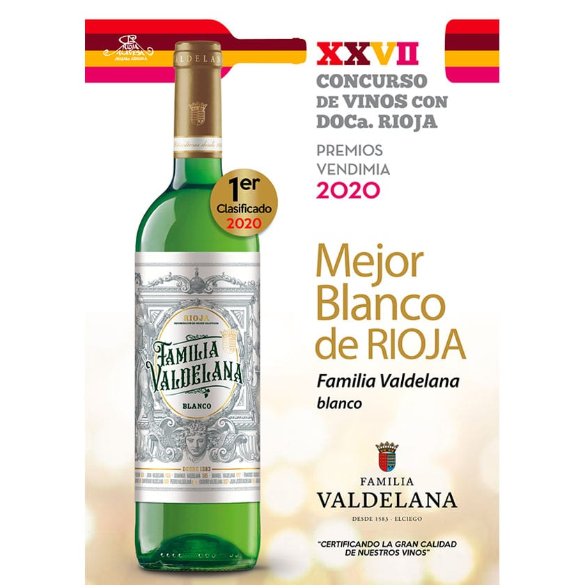 Famila Valdelana Blanco premiado como el mejor blanco de Rioja en la Fiesta de la Vendimia de Rioja Alavesa 2020