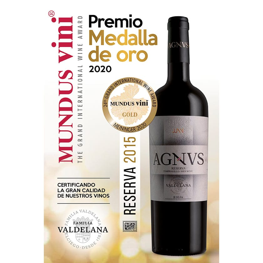 Agvns Reserva obtiene la medalla de oro en el concurso Mundus Vini 2020