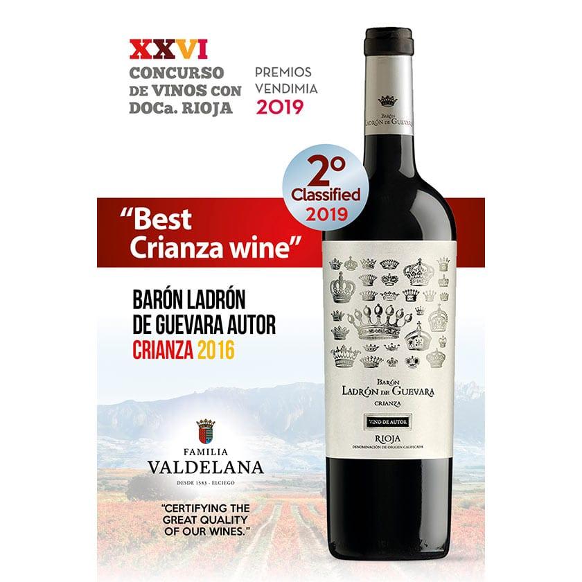 Ladrón de Guevara, segundo mejor crianza de Rioja en la Fiesta de la Vendimia de Rioja Alavesa 2019