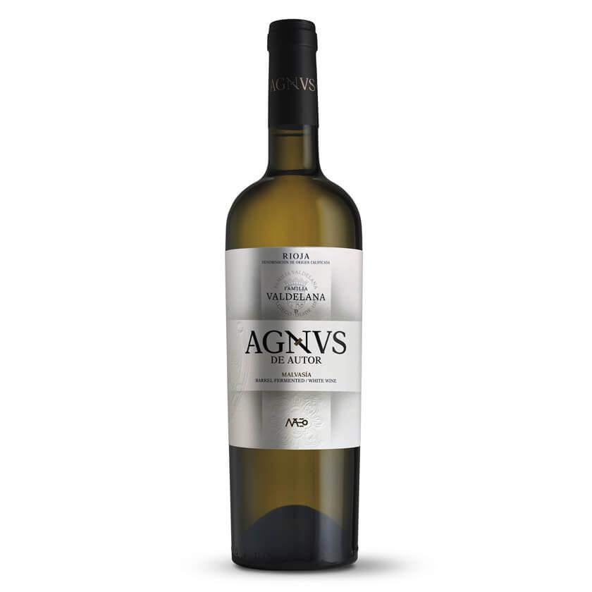 Vino blanco de Rioja de la marca Agnvs elaborado con uva 100% malvasía. Un vino exótico y afrutado, perfecto para aperitivos, tapas, arroces y pescados.