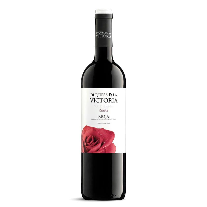 Vino cosecha de la marca Duquesa de la Victoria se compone de un 95% de uva tempranillo y un 5% de viura. Un vino frutal pero muy equilibrado, perfecto para carnes, guisos y tapas variadas.