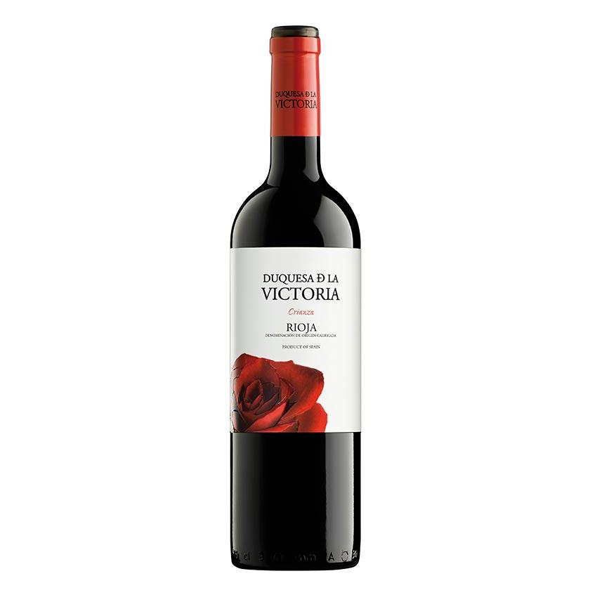 Un vino crianza de la marca Duquesa de la Victoria, compuesto de un 95% de uva tempranillo y un 5% de mazuelo. 12 meses en barrica.. Un vino potente, carnoso y con un amplio retrogusto, ideal para legumbres, carnes y guisos.