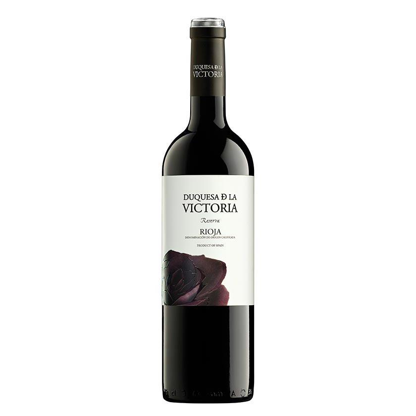 Vino reserva de Rioja de la marca Duquesa de la Victoria, compuesto por un 95% de uva tempranillo y un 5% de graciano. 18 meses en barrica. Ideal para carnes, guisos, legumbres y postres.