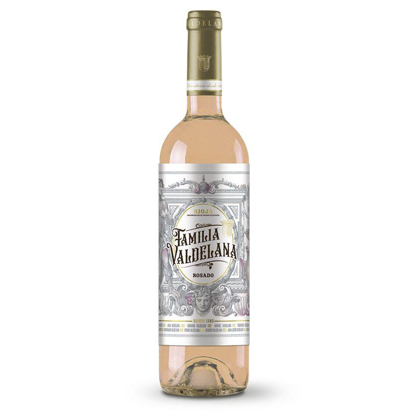 Vino Rioja rosado de la marca Familia Valdelana elaborado con uvas de la variedad garnacha y tempranillo. Un vino ideal para combinar con pastas, carnes blancas, guisos y pescados.