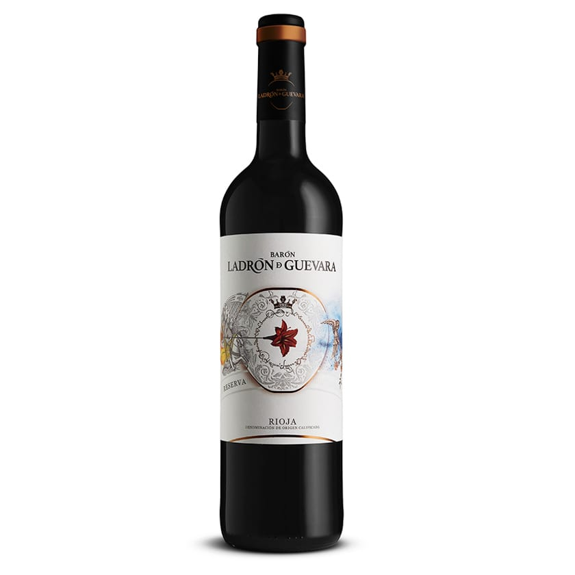Este vino reserva de la marca Barón Ladrón de Guevara está compuesto por un 95% de uva tempranillo y un 5% de graciano, combinación perfecta para un largo envejecimiento. 18 meses en barrica. Ideal para carnes, guisos, legumbres y postres.