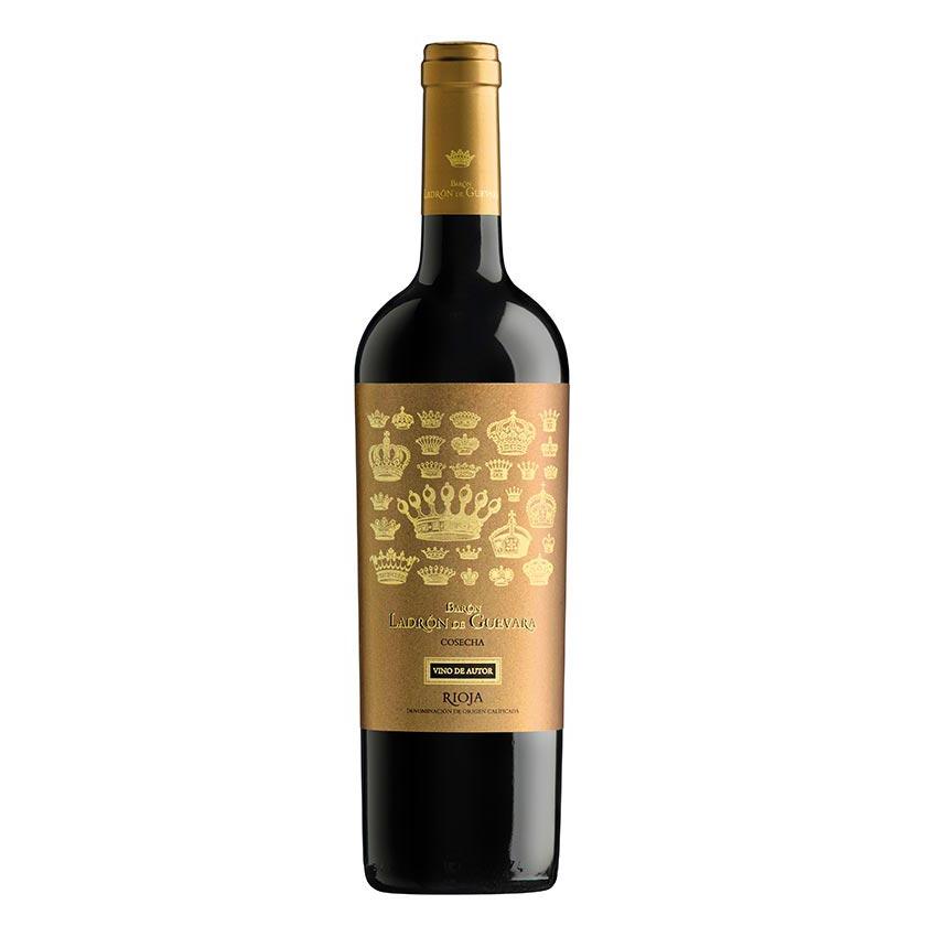Vino de autor de la marca Barón Ladrón de Guevara compuesto de un 95% de uva tempranillo y un 5% de graciano. Un vino Rioja poderoso y alegre, perfecto para carnes guisos y legumbres.