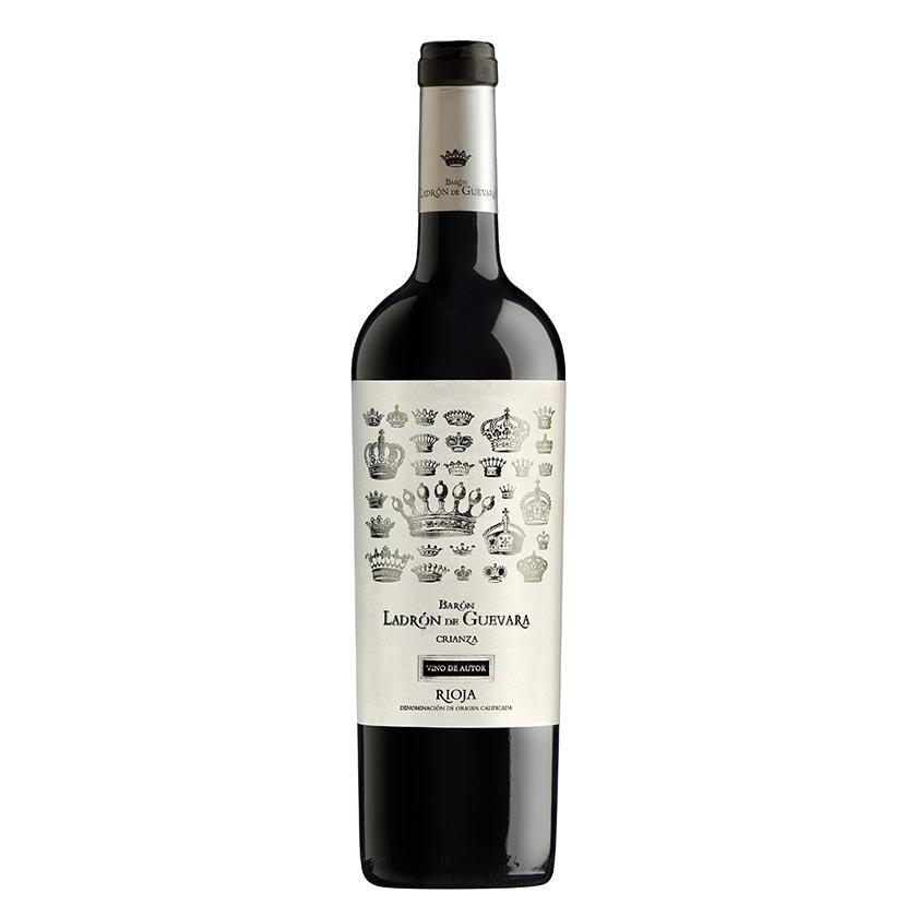 Vino crianza de autor de la marca Barón Ladrón de Guevara se compone de un 95% de uva tempranillo y un 5% de graciano. Un vino Rioja poderoso, sobrio y con carácter.