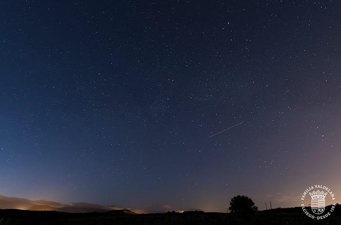 Cielo estrellado sobre el jardín de las Variedades de Bodegas Valdelana (Elciego, Rioja Alavesa)