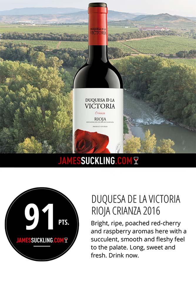 Calificación del vino Crianza de Duquesa de la Victoria por James Suckling
