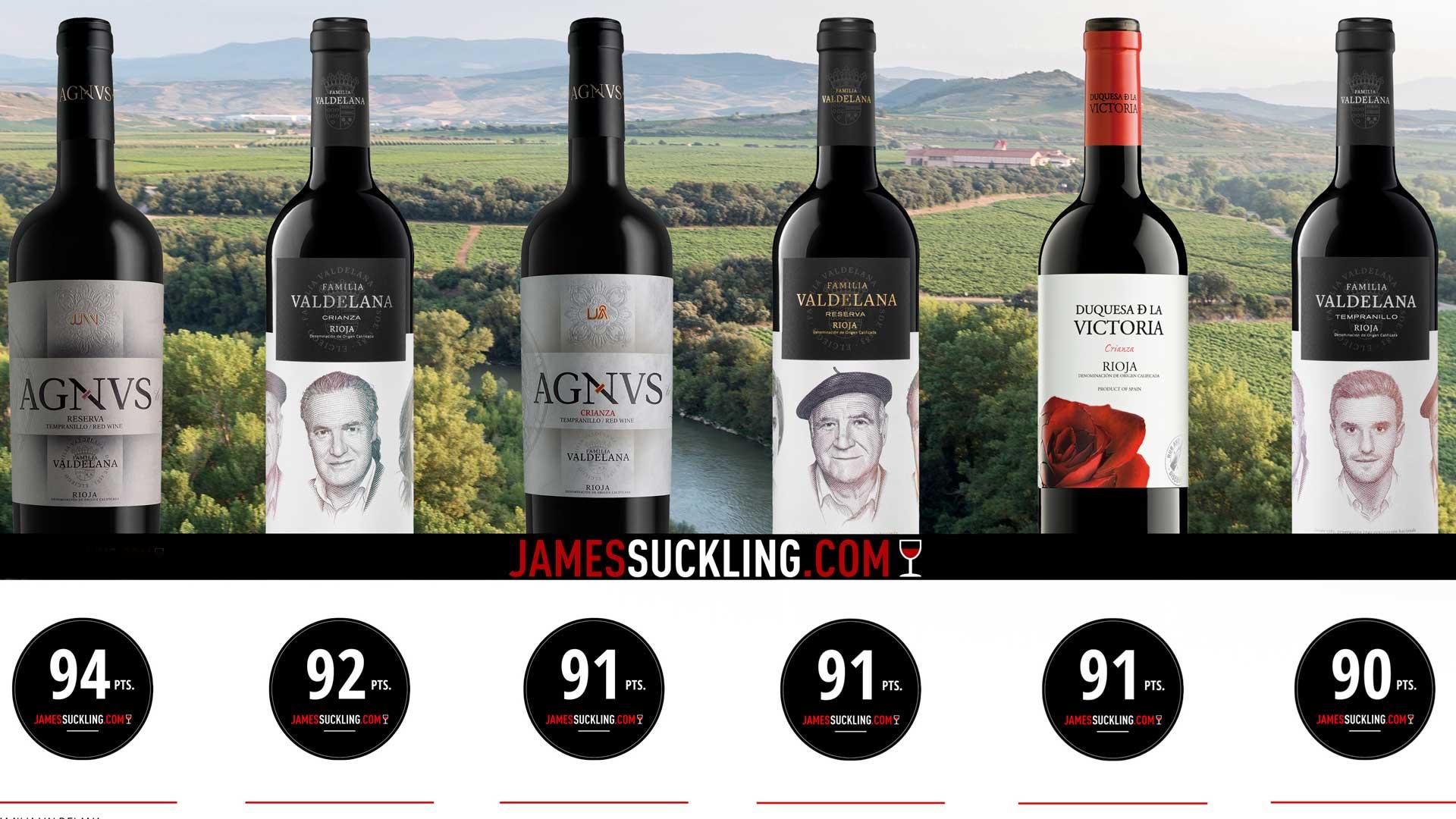 James Suckling otorga altas calificaciones a los vinos de Bodegas Valdelana