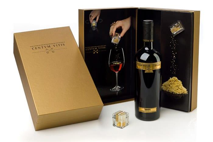 Pack del vino Centvm Vitis con oro comestible, Bodegas Valdelana