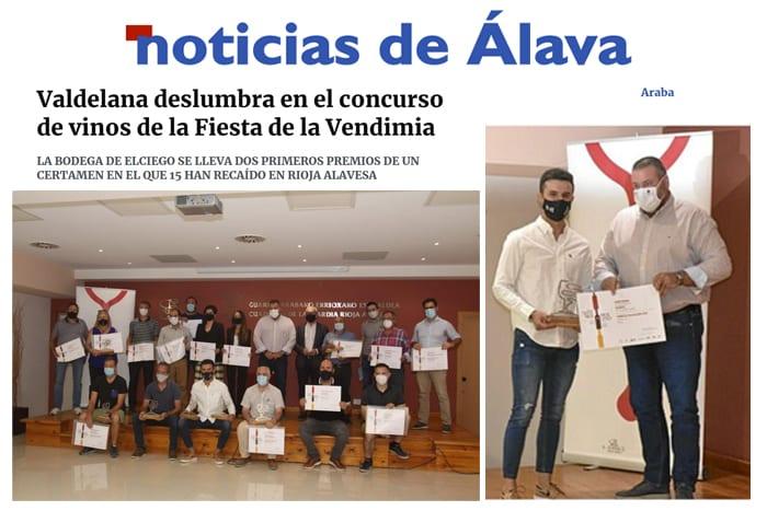Noticias de Álava habla sobre el premio a los mejores blancos de Bodegas Valdelana
