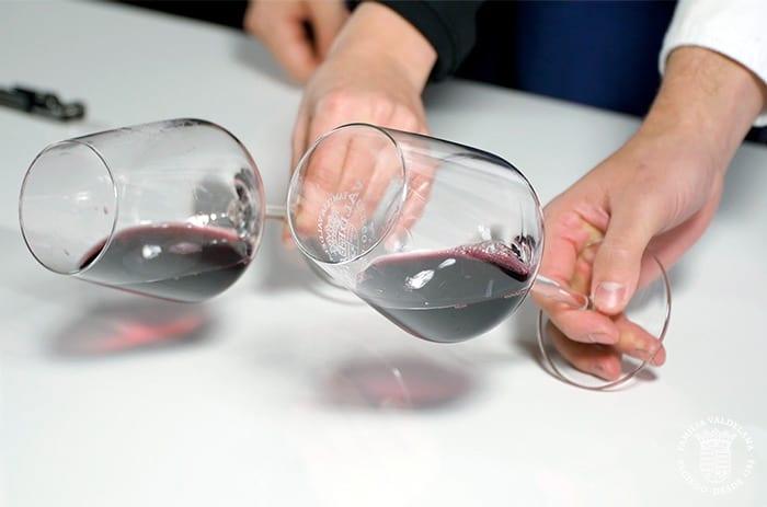 Juan y Judit catan los vinos jóvenes de Bodegas Valdelana (Elciego, Rioja Alavesa)