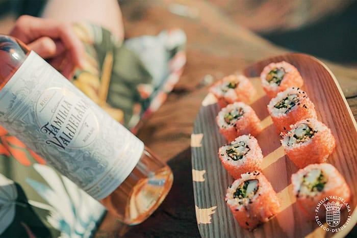 Maridaje de vinos rosados de Bodegas Valdelana con sushi